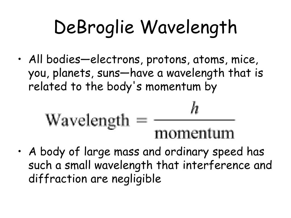 DeBroglie Wavelength