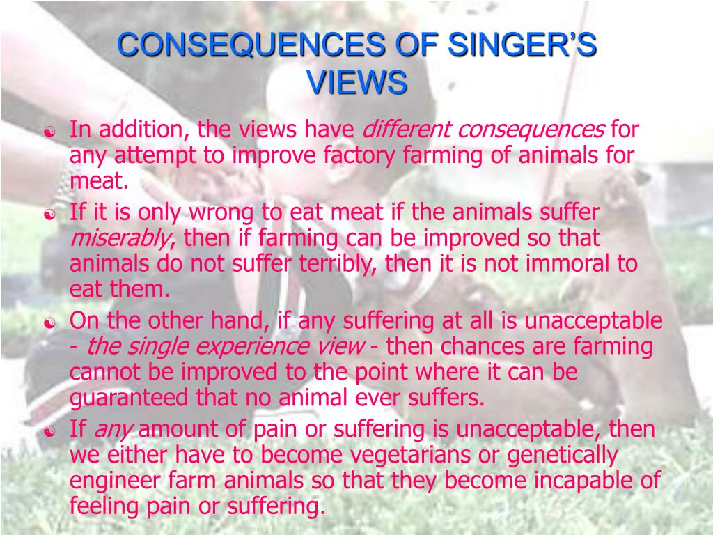 CONSEQUENCES OF SINGER'S VIEWS