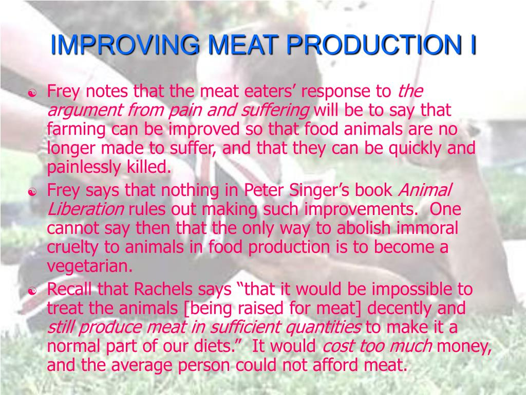 IMPROVING MEAT PRODUCTION I
