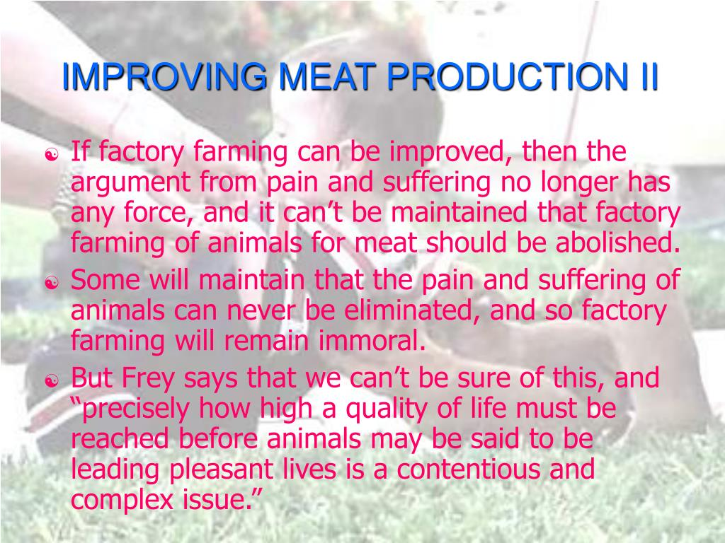 IMPROVING MEAT PRODUCTION II