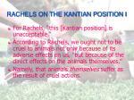 rachels on the kantian position i