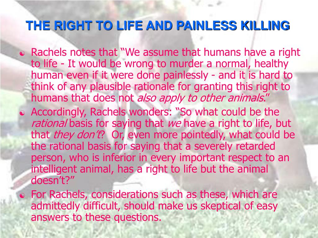 THE RIGHT TO LIFE AND PAINLESS KILLING