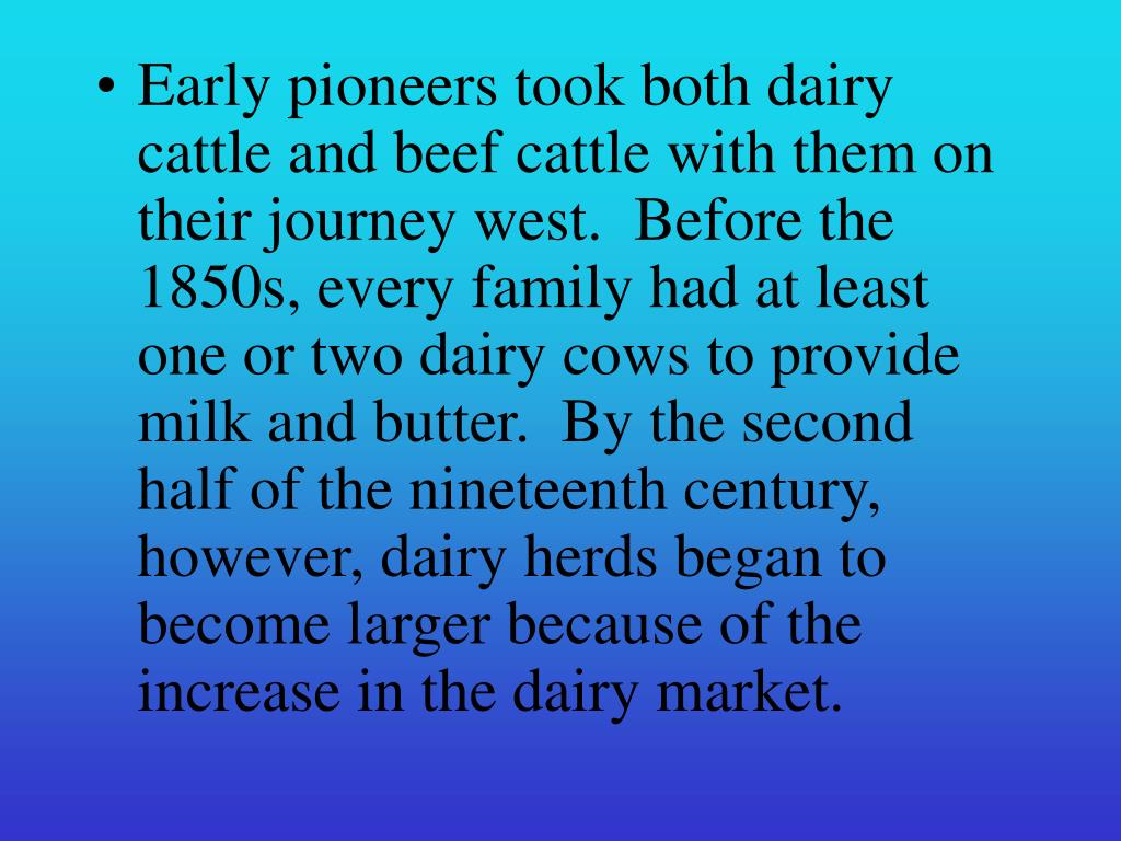 Early pioneers took both dairy cattle and beef cattle with them on their journey west.  Before the 1850s, every family had at least one or two dairy cows to provide milk and butter.  By the second half of the nineteenth century, however, dairy herds began to become larger because of the increase in the dairy market.