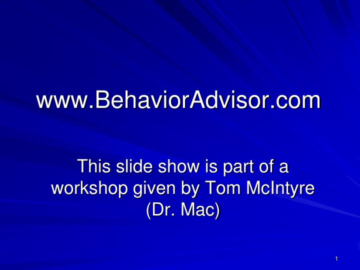 Www behavioradvisor com