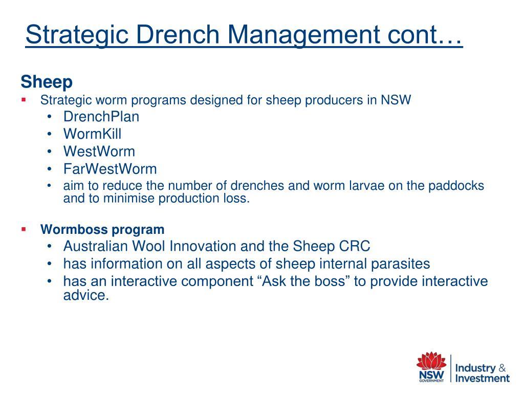 Strategic Drench Management cont…