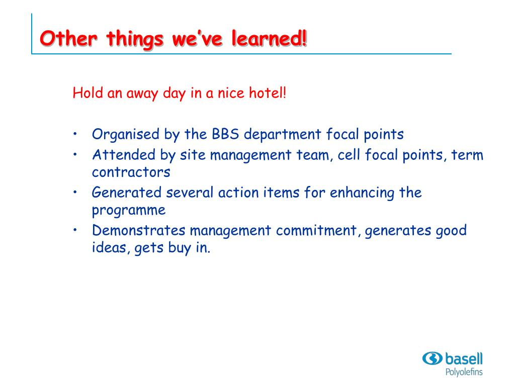 Other things we've learned!