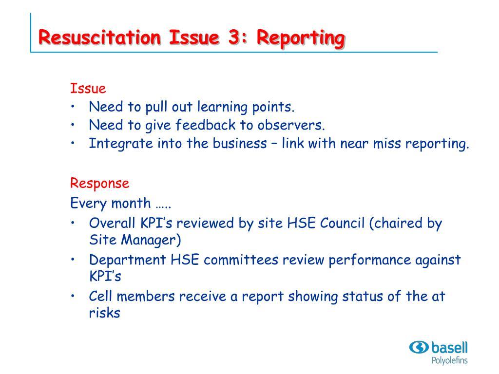 Resuscitation Issue 3: Reporting
