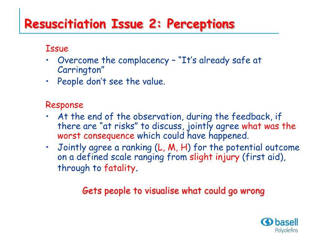 Resuscitiation Issue 2: Perceptions