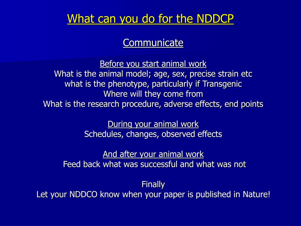 What can you do for the NDDCP