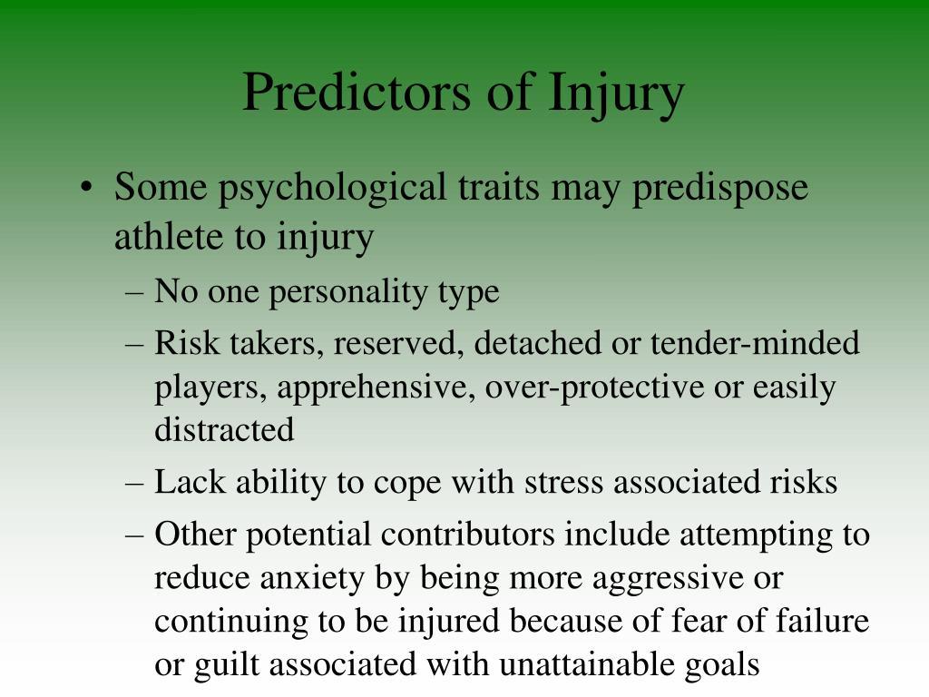 Predictors of Injury