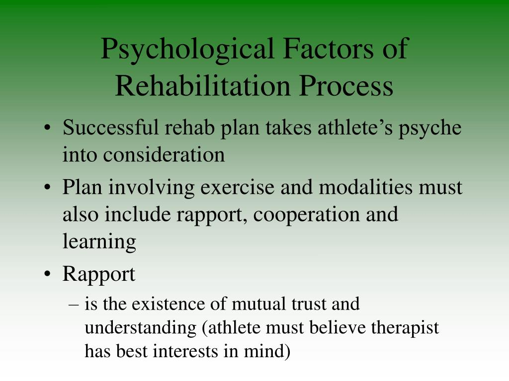 Psychological Factors of Rehabilitation Process