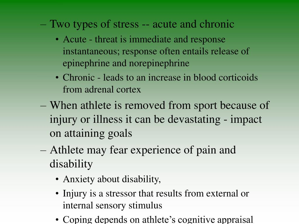 Two types of stress -- acute and chronic