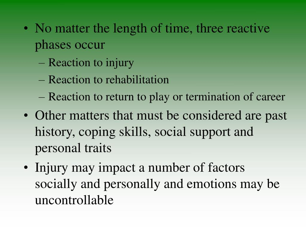 No matter the length of time, three reactive phases occur