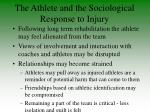 the athlete and the sociological response to injury