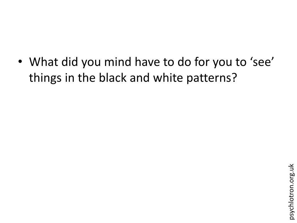 What did you mind have to do for you to 'see' things in the black and white patterns?