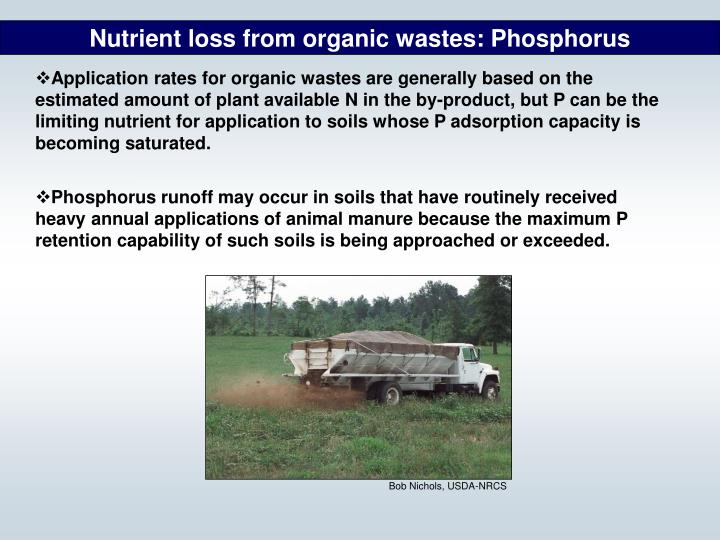 Nutrient loss from organic wastes: Phosphorus