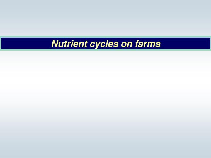 Nutrient cycles on farms