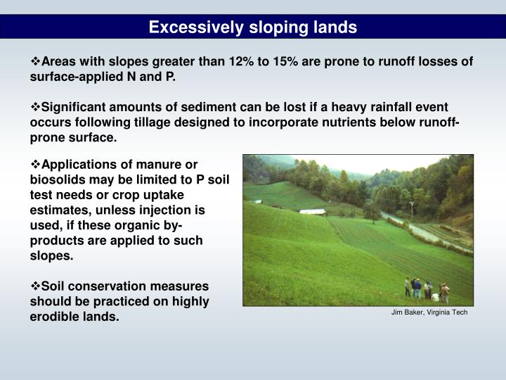 Excessively sloping lands