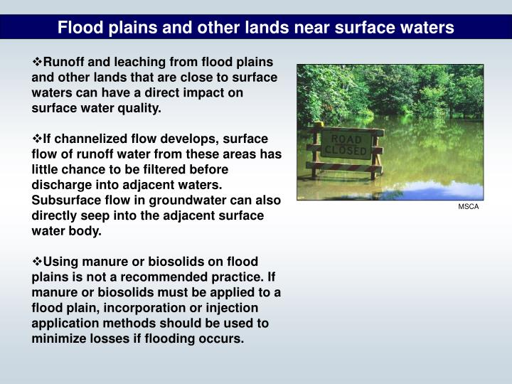 Flood plains and other lands near surface waters