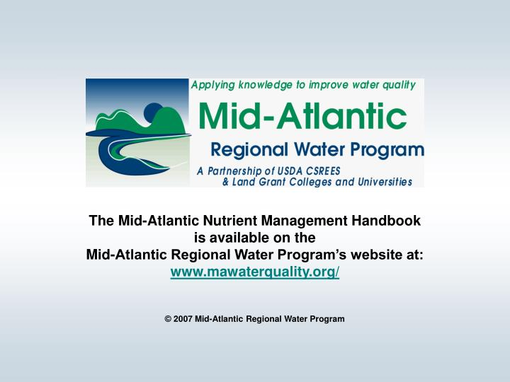 The Mid-Atlantic Nutrient Management Handbook