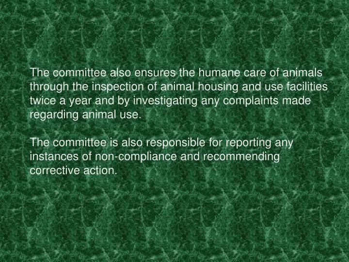 The committee also ensures the humane care of animals through the inspection of animal housing and use facilities twice a year and by investigating any complaints made regarding animal use.