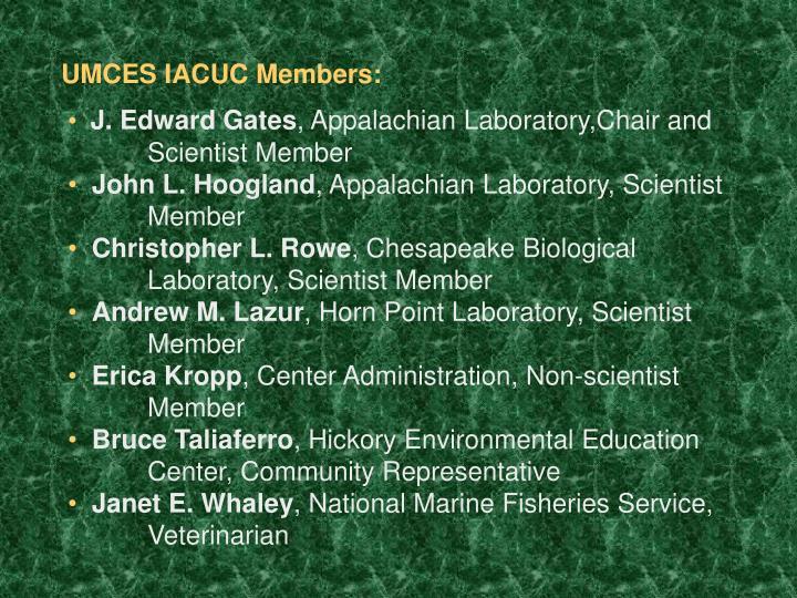 UMCES IACUC Members: