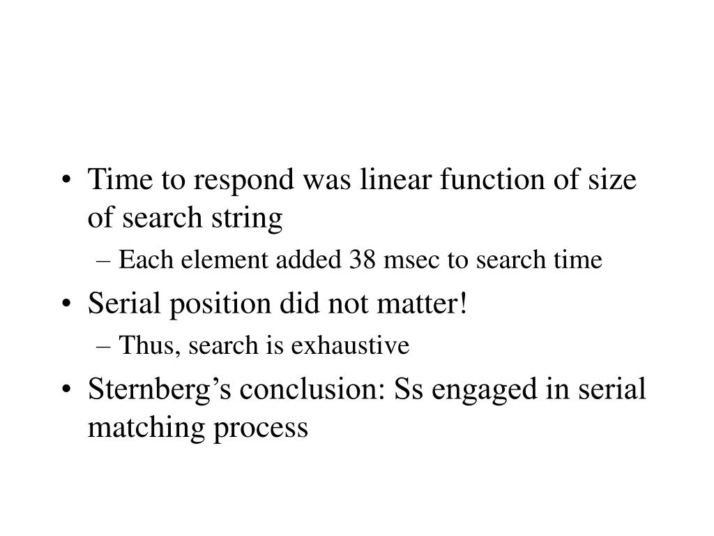 Time to respond was linear function of size of search string