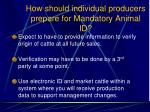 how should individual producers prepare for mandatory animal id109