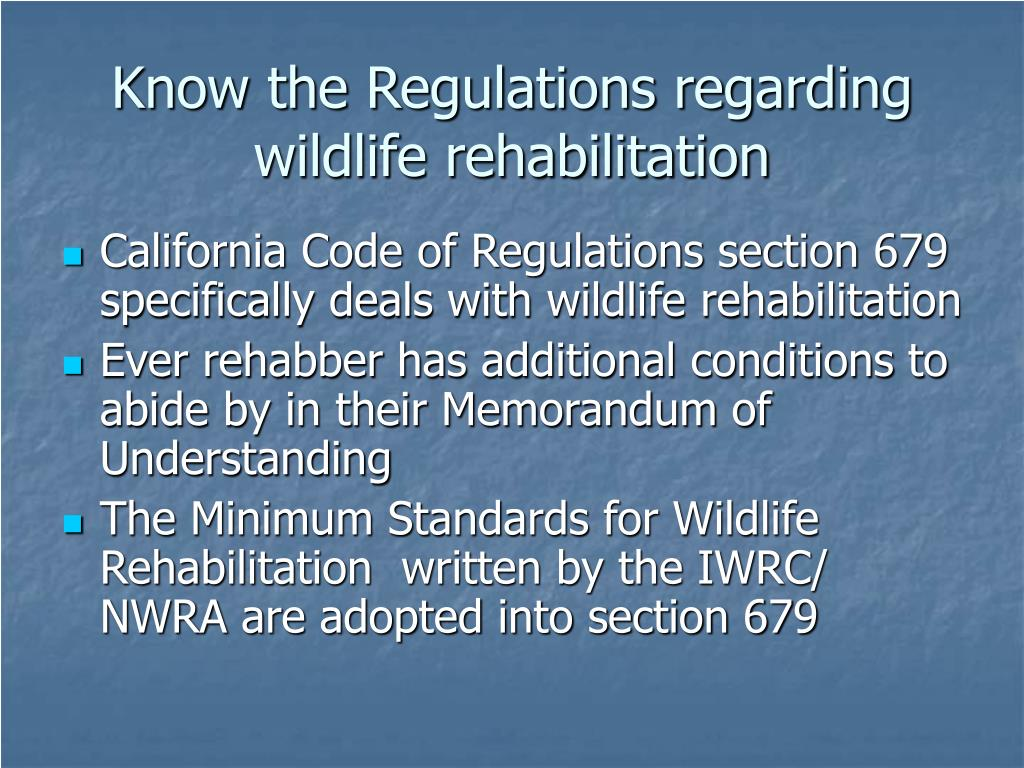 Know the Regulations regarding wildlife rehabilitation