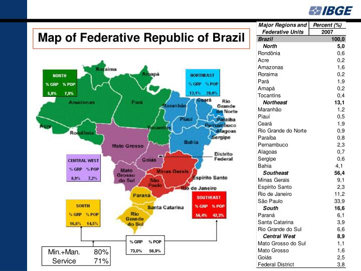 Map of Federative Republic of Brazil