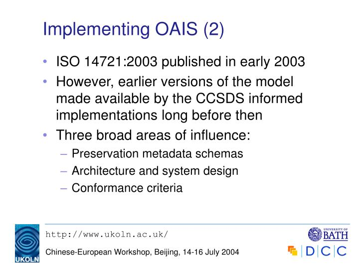 Implementing OAIS (2)