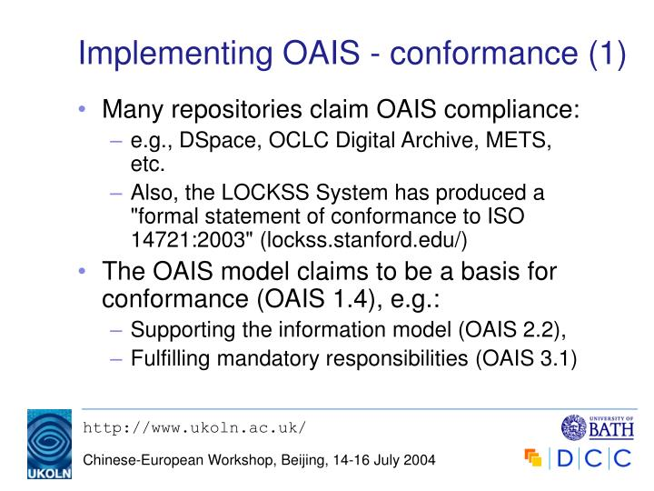Implementing OAIS - conformance (1)