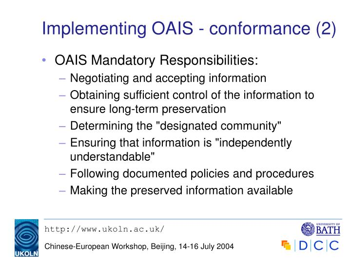 Implementing OAIS - conformance (2)