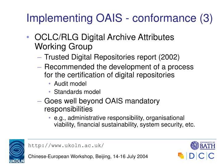 Implementing OAIS - conformance (3)