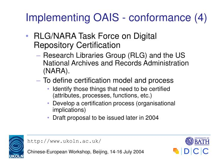 Implementing OAIS - conformance (4)