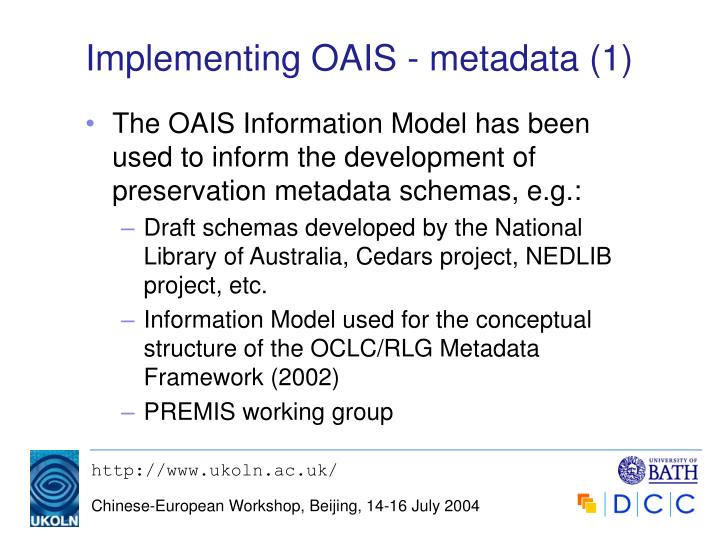 Implementing OAIS - metadata (1)