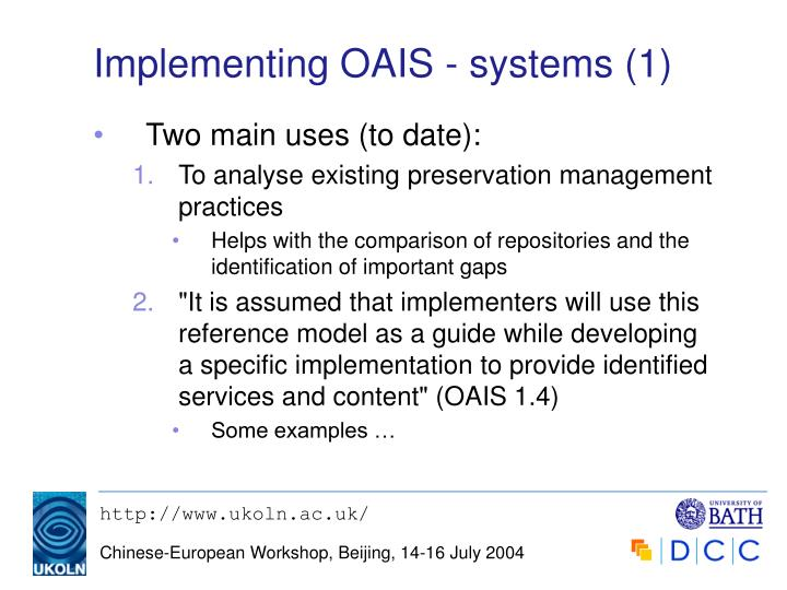 Implementing OAIS - systems (1)