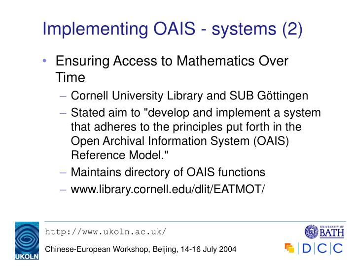Implementing OAIS - systems (2)