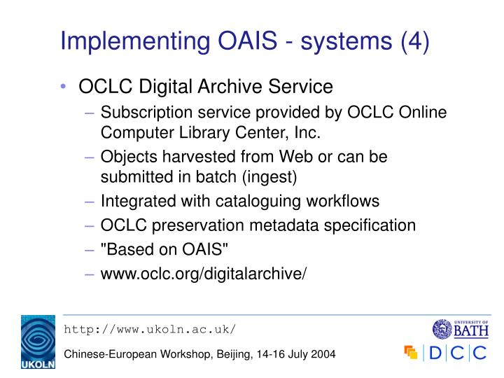 Implementing OAIS - systems (4)