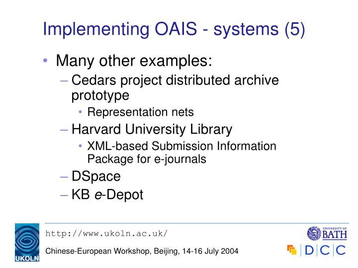 Implementing OAIS - systems (5)