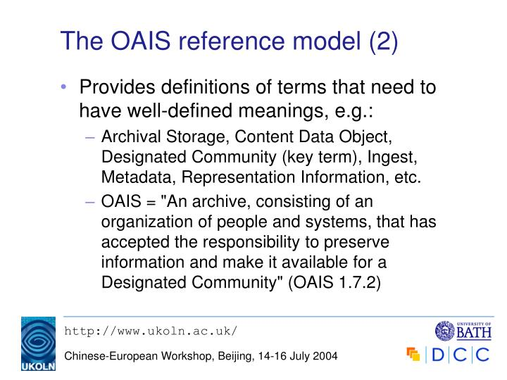 The OAIS reference model (2)