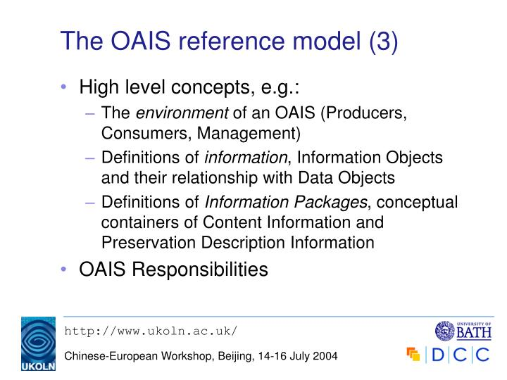 The OAIS reference model (3)