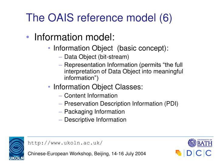 The OAIS reference model (6)