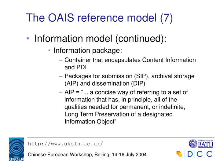 The OAIS reference model (7)