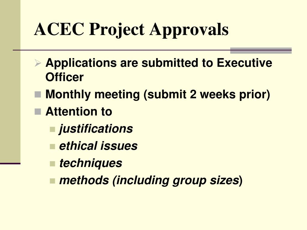 ACEC Project Approvals