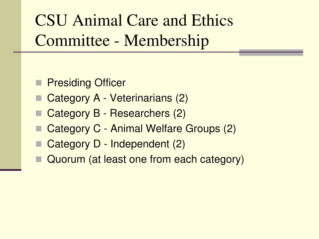 CSU Animal Care and Ethics Committee - Membership