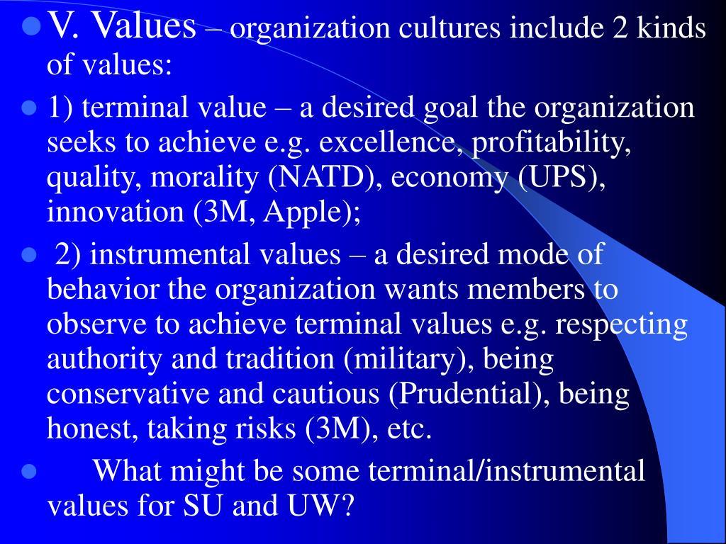 V. Values