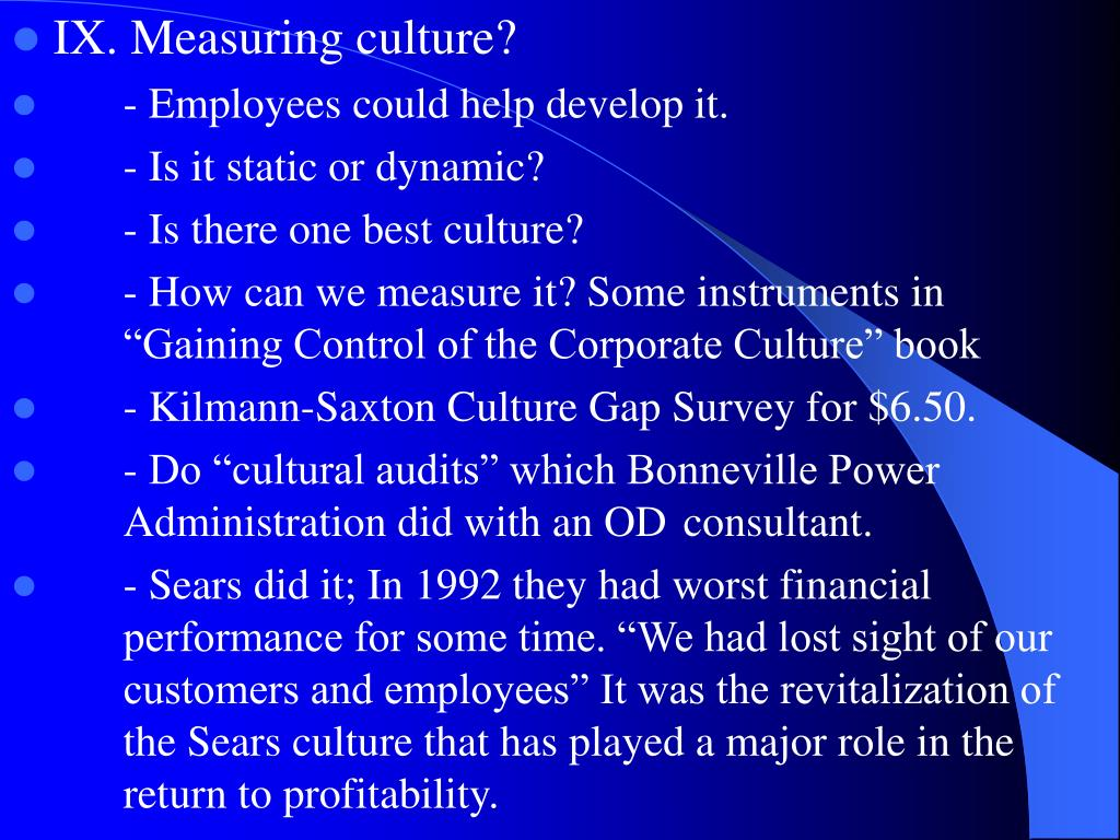 IX. Measuring culture?
