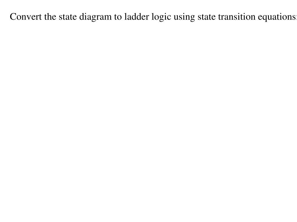 Convert the state diagram to ladder logic using state transition equations: