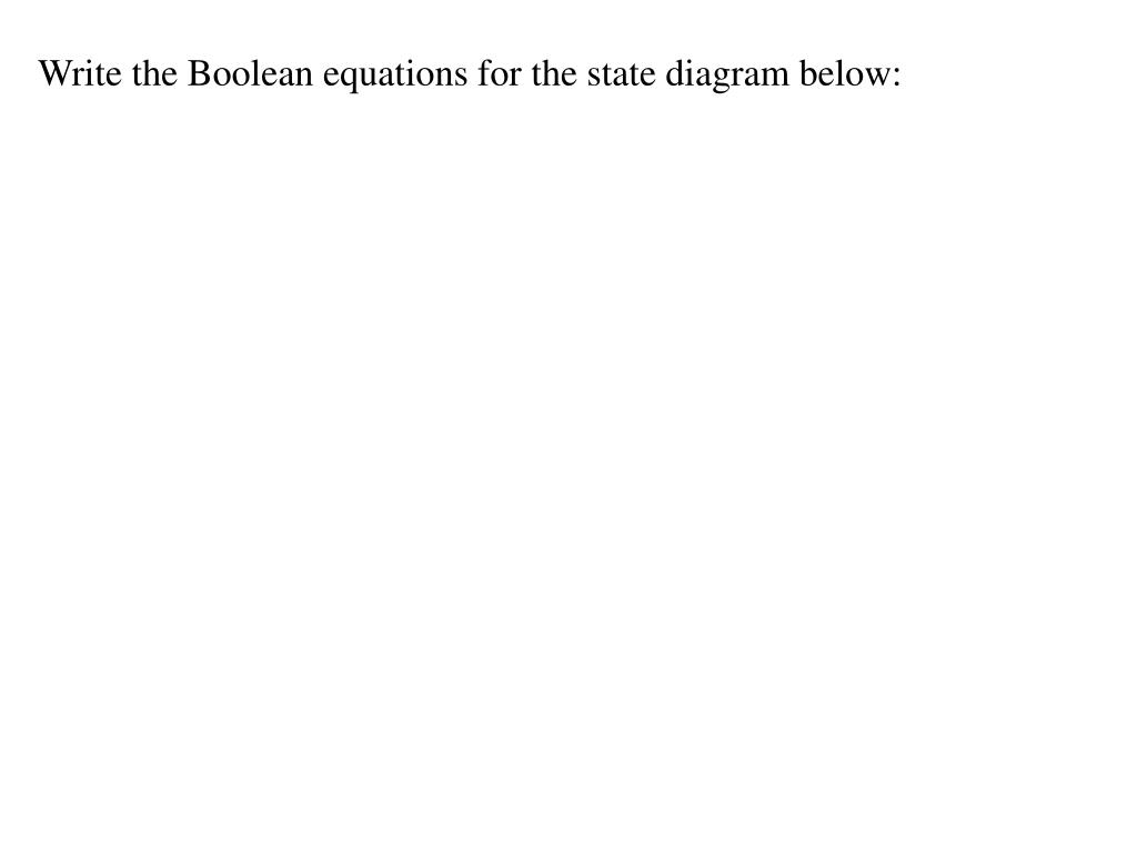 Write the Boolean equations for the state diagram below: